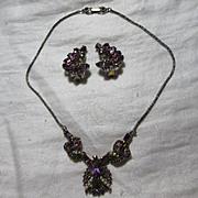 Hollycraft Signed Dated 1953 Demi Parure  Necklace Earring Set Purple Rhinestones Fine Vintage Designer Costume Jewelry