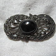 Sterling Silver Marcasites & Black Brooch or Pin Fine Vintage Costume Jewelry