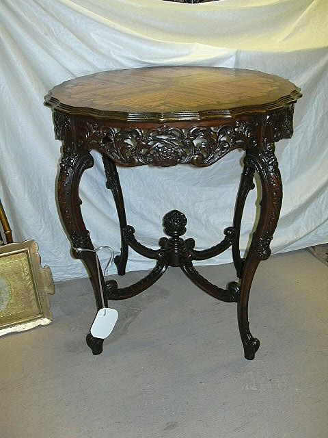 French center table floral inlay top carved legs finial for Center table legs