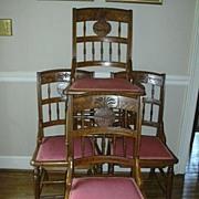 Set 4 Carved Arts & Crafts Eastlake Dining Side Chairs Pineapple Design