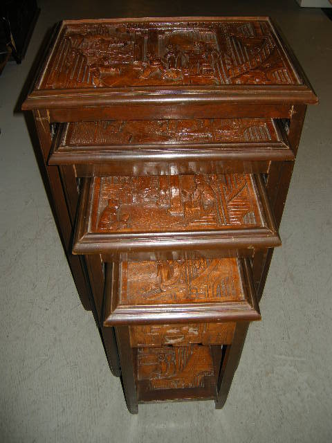 Rare George Zee Carved Oriental Nested Tables Set 4 : Antiques Jewelry U0026  Sacred Treasures | Ruby Lane