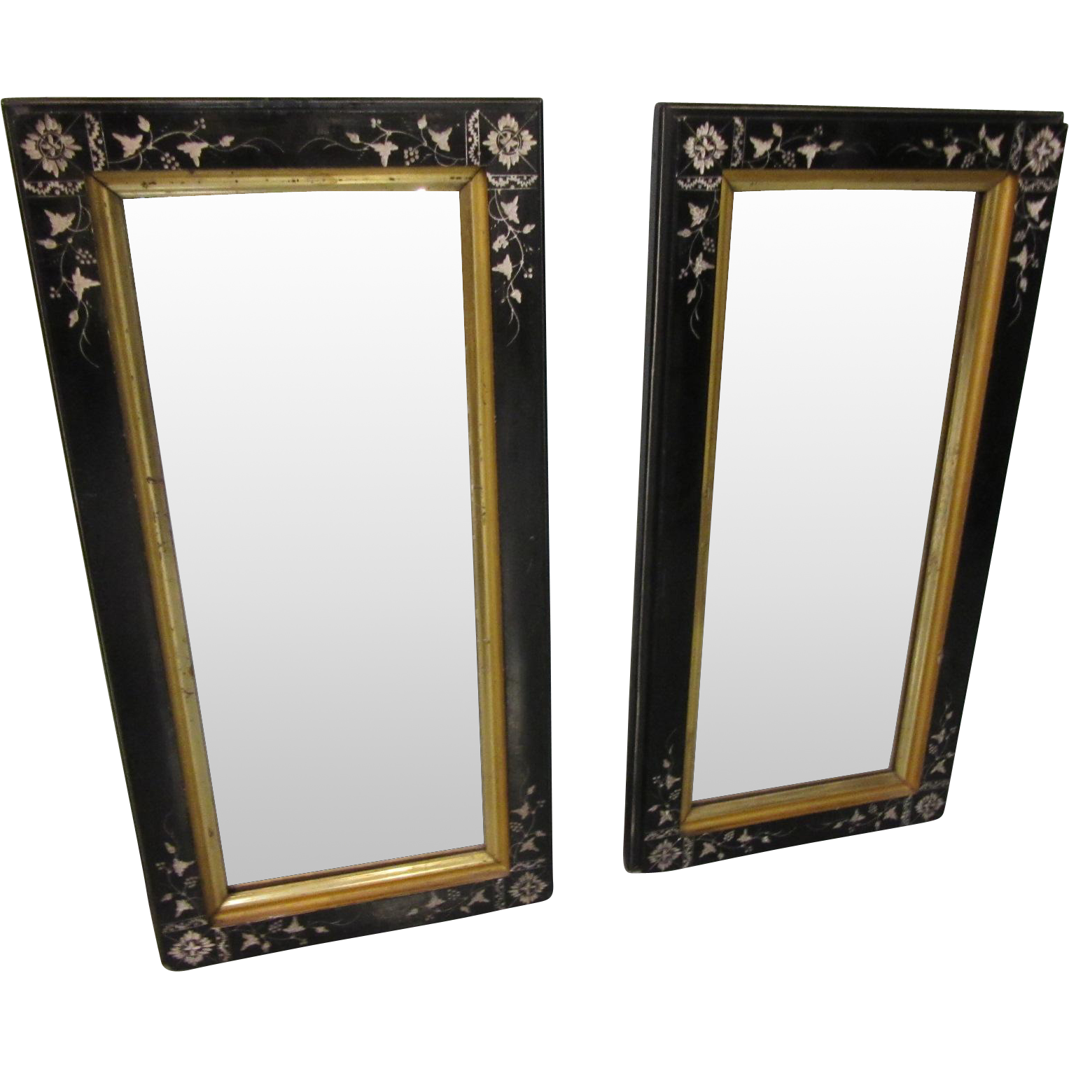 Pair eastlake black carved lacquer with gold framed wall for Black wall mirror
