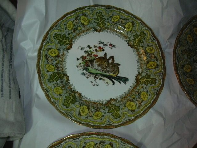Set 4 Royal Doulton Bursley Dinner Plates Rabbits D1319