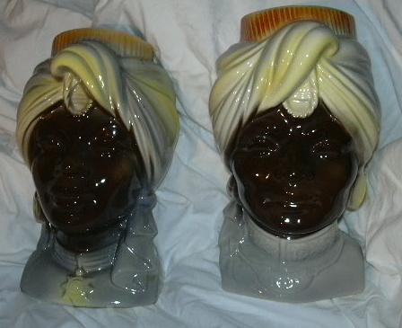 Pair Royal Copley Blackamoor Head Vase Wall Pocket Nehru