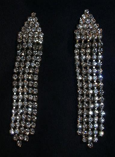 Vintage Rhinestone Clip Earrings Flapper Style Elegant Designer Costume Jewelry Evening