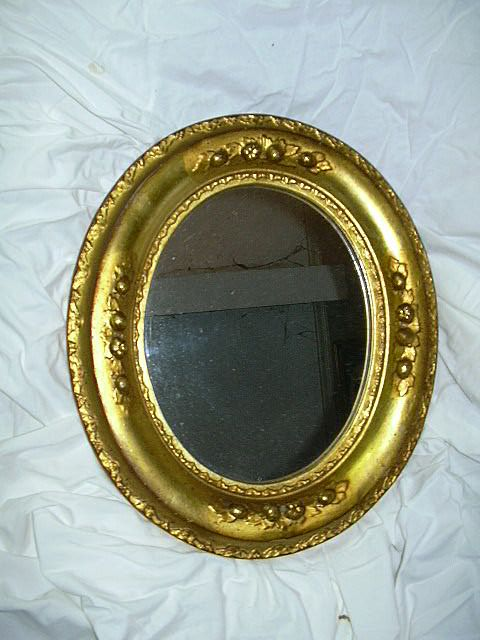 Old Borghese Gold Gilt Framed Oval Mirror