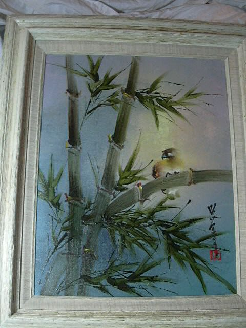 Japanese Signed Painting Bird Amp Bamboo Framed Antiques