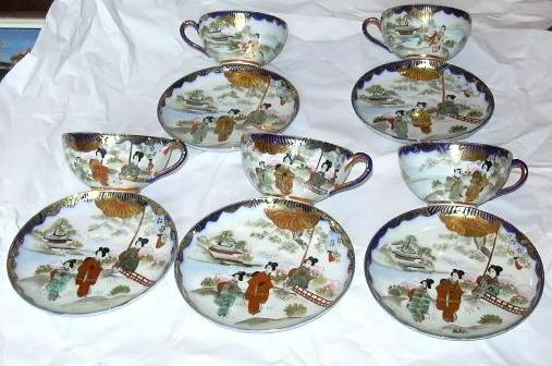 Set 5 Cups & Saucers Japanese Porcelain Highly Decorated Fine Dining