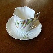 Old Miniature Or Demitasse Cup & Saucer Set Unusual Handle