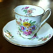 Coalport Fragrance English Bone China Demitasse Cup & Saucer Set Fine Tea Dining
