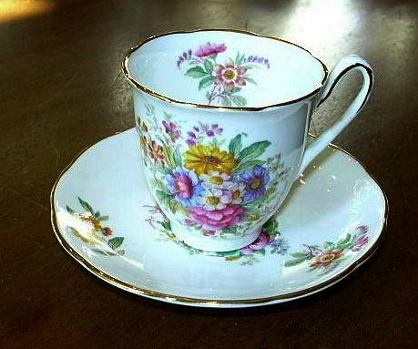 Coalport Fragrance English Bone China Demitasse Cup & Saucer Set Fine Tea Dining