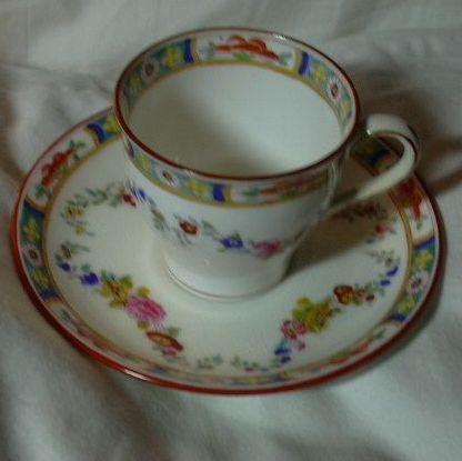 Minton Rose England Porcelain Demitasse Cup Saucer Set