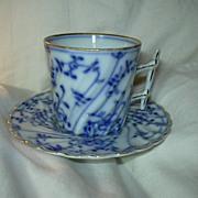 Royal Bayreuth Blue & White Demitasse Cup Saucer Set