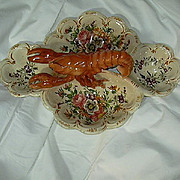 Huge Lobster Four Section Bowl Hand Painted Flowers Signed