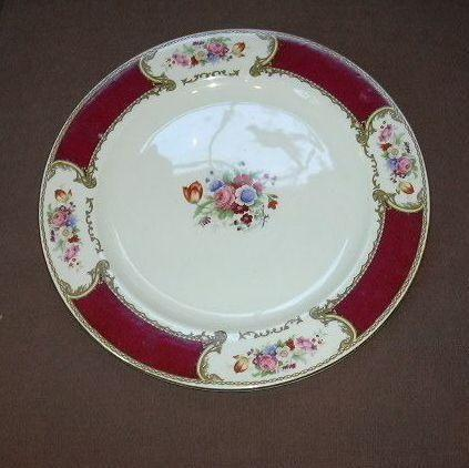 Royal Crown Myotts Staffordshire England Bouquet Maroon Round Chop Plate Platter
