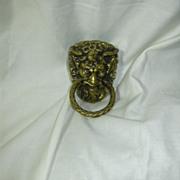 Old Brass Satyr Horned Beast Man Ring Drawer Pull