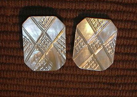 Old Mother Of Pearl MOP 2 Pc Buckle Carved Design