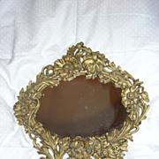 Ornate Flowers Mirror On Stand Fine Old Vanity