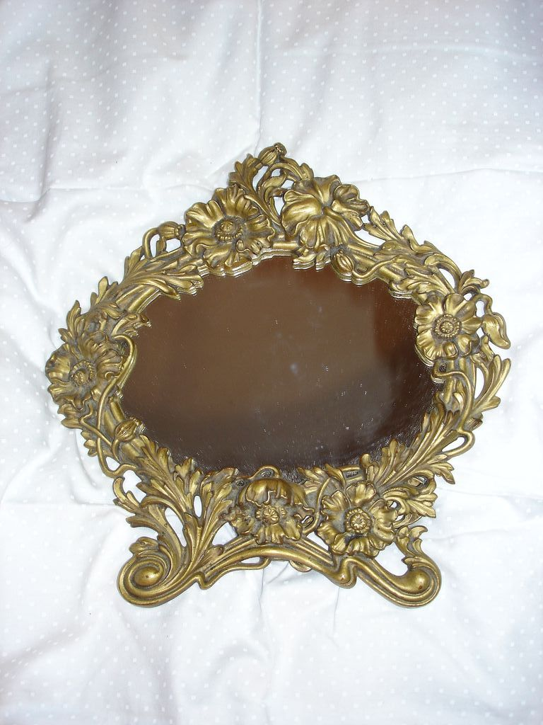 Ornate Flowers Mirror On Stand Fine Old Vanity