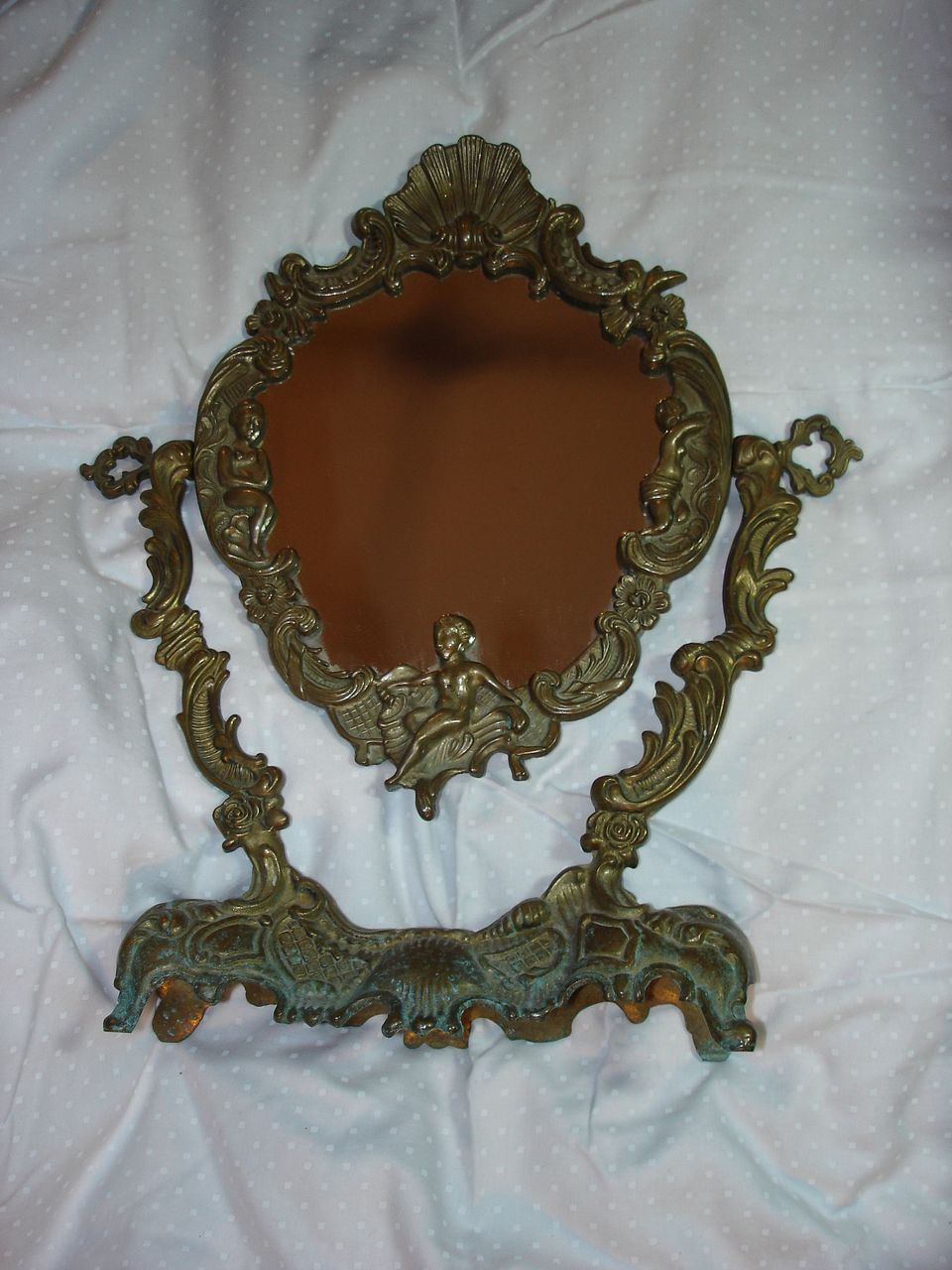Ornate Old Mirror On Stand Cherubs & Nymphs Fine Old Vanity