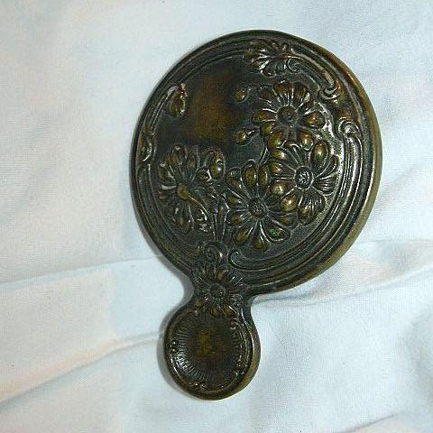 Old Brass Miniature Purse Hand Mirror Rare Vanity