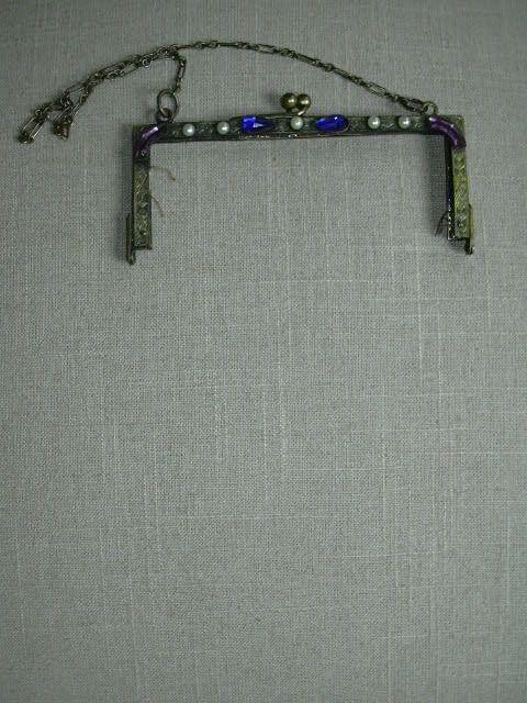 Old Jeweled Beaded Bag Frame