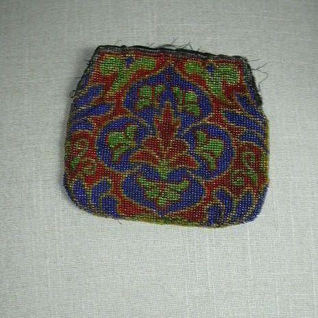 Old Beaded Beadwork Needlework Bag Piece