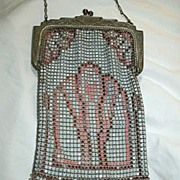Old Art Deco  Metal Mesh Bag Pastel Colors