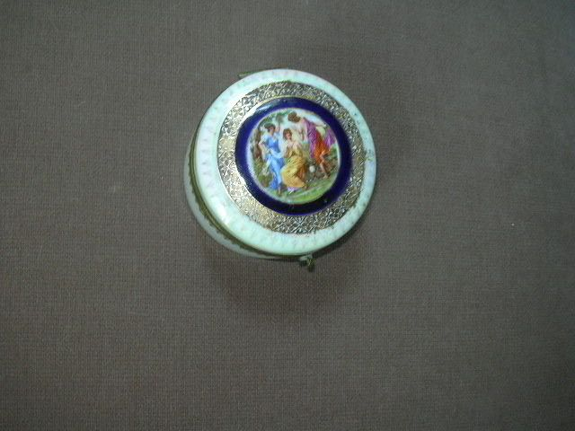 Germany Porcelain Powder Box With Three Ladies Cameo Art On Top