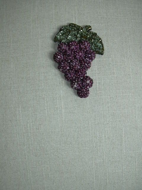 Old Beaded Sequin Fruit Dress Trim Needlework