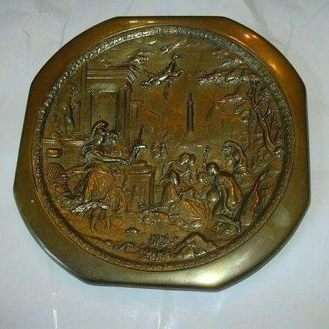 W D Allen Bronze Decorative Plate Plaque Detailed Figures