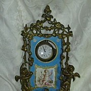 Antique French Porte Montre Watch Holder Hand Painted Angel