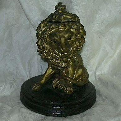 Antique Lion Inkwell Glass Eyes