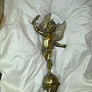 Large Heavy Brass Angel Cherub Statue With torch