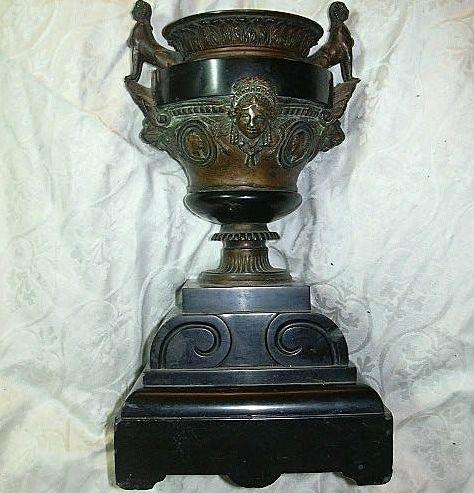 Bronze  Garniture Urn With Lions Sphinx & Heads