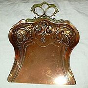 English Art Nouveau 19th C Copper & Brass Crumber Tray Flowers & Vines