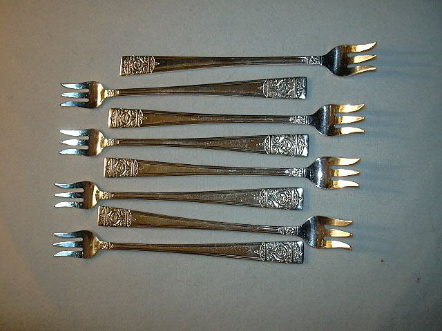 National Silver Inauguration Pattern Set 8 Cocktail Seafood Pickle Forks Silverplate