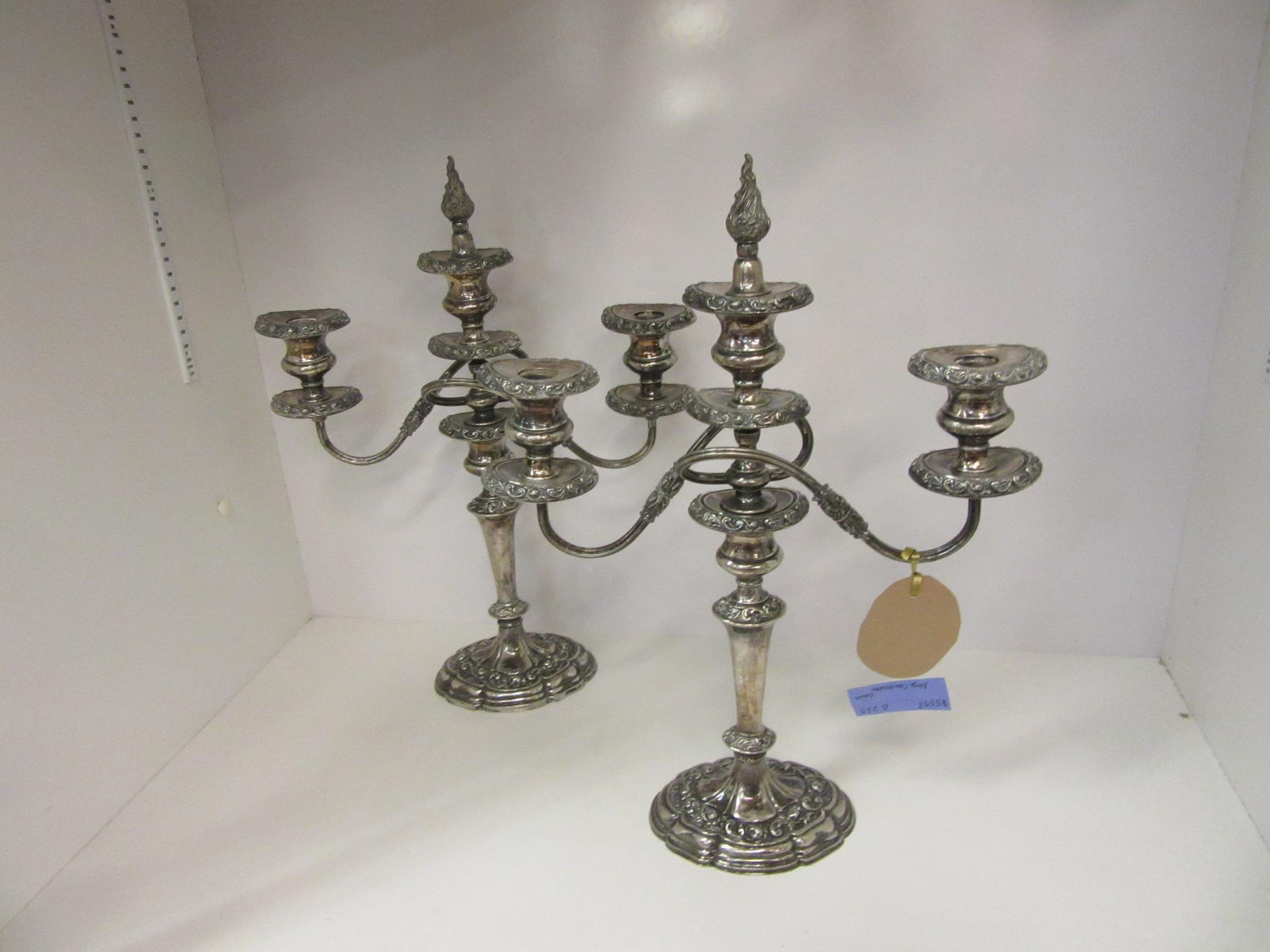 Pair Old Silver Plate Candelabra