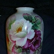Hand Painted K T Japan Vase Fabulous Flowers Fine China