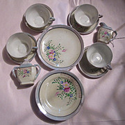 Hand Painted  Porcelain  Miniature Childrens Tea Set  Sugar Creamer Cup & Saucer Sets Plates & Platter  15 pc set