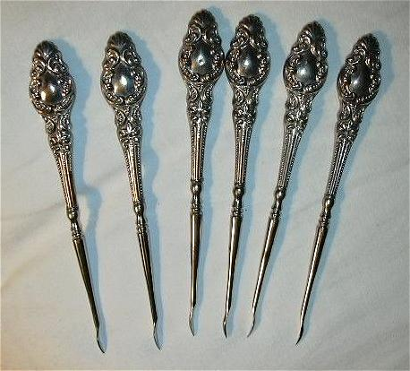 Antique Sterling Silver Nut Picks Set 6 Fine Dining Silverware