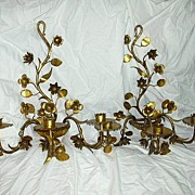 True Pair Italian Florentine Gold Gilt Wall Sconces
