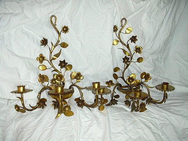 True Pair Italian Florentine Gold Gilt Wall Sconces