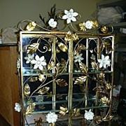 Italian Florentine Gold Gilt Flowers Etagere Shelves Cabinet