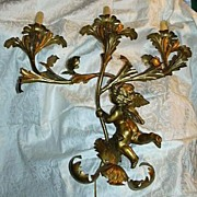 Gold Gilt Italian Florentine Large Wall Candelabra Sconce With Angel Cherub