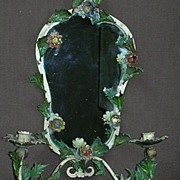Italian Hand Painted Tole Mirror With Candleholders Wall Sconce
