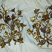 Pair Italian Florentine Gold Gilt Wall Sconces Candleholders Lighting