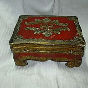 Italian Florentine Box Gold Gilt & Hand Painted Gesso On Wood