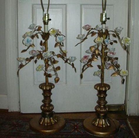 Pair Italian Florentine Lamps With Porcelain Flowers From
