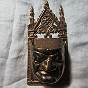 Old Metal Wall Pocket Match Safe Drama Face